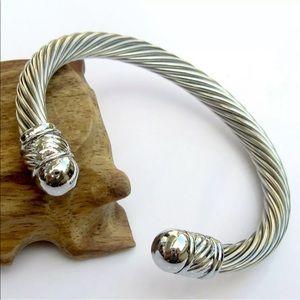 New unisex stainless steel silver cuff bracelet